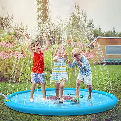 Jasonwell Tappetino Giochi d'Acqua Giardino per Bambini 170cm Giocattoli Splash Play Mat Giochi all'Aperto Estate Giochi Acqua Giardino Piscina Gonfiabile Spruzzi Ragazze Ragazzi di 2 3 4 5 6 Anni