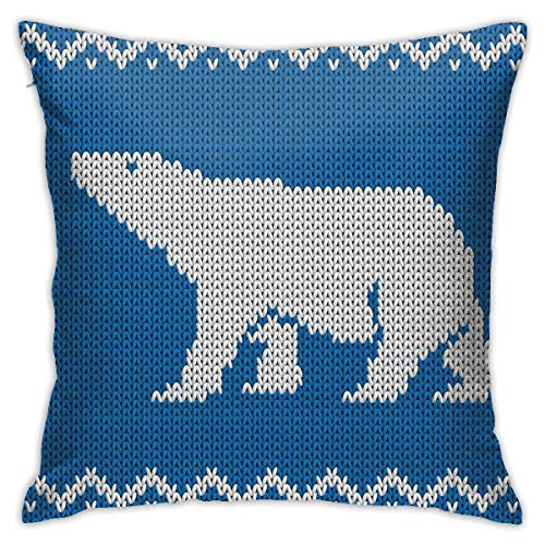 XCNGG Funda de almohadaOffice Seat Cushion Blue Knitted Winter Blue Seamless Pattern with Sofa Rest Pillow Sleeping Pillow 18x18 in