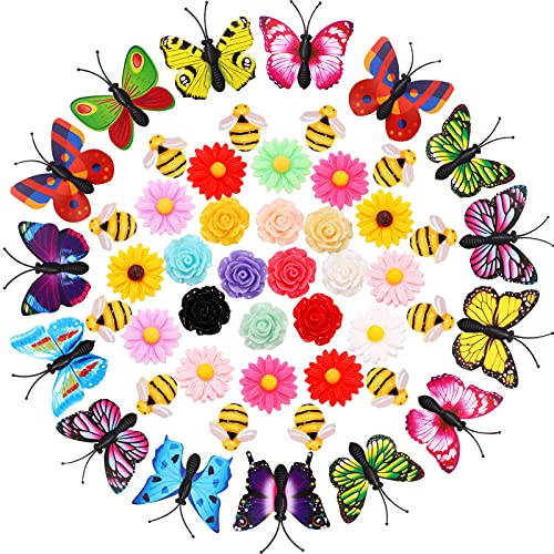 65 Pieces Butterfly Push Pins Colorful Daisy Push Pins Rose Decorative Push Pins and Bees Thumbtacks, Cute Decorative Push Pins for Kids, Corkboard, Photo Wall, Bulletin Board Decoration