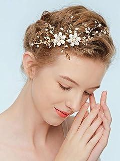 FXmimior - Tiara per capelli da sposa, con perle e strass, stile vintage, colore: oro