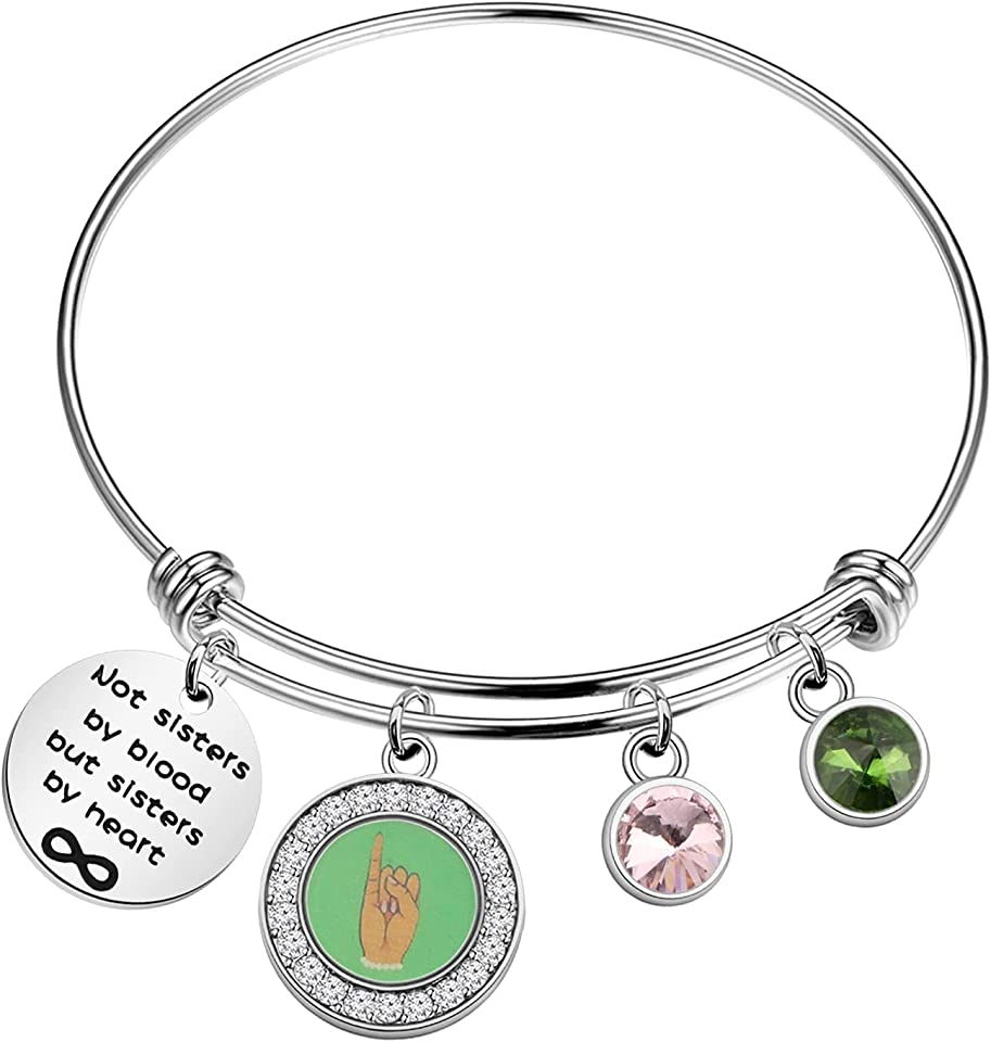 HOLLP Pink and Green Gift Sorority Jewelry Not Sisters by Blood But Sisters by Heart Bracelet Sorority Sister Bracelet Gift for Sorority Women Girls
