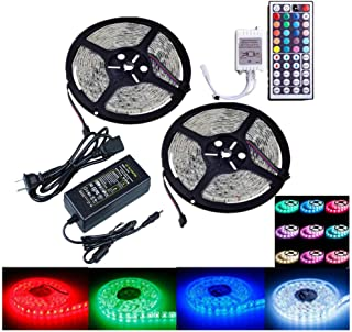 OMTO Led Light Strip waterproof DC12V Power Supply 10M/32.8 Ft SMD 5050 RGB 300LED Color Changing Kit with Flexible Strip Light with 44 key Ir Controller Kitchen Bedroom Sitting Room Car