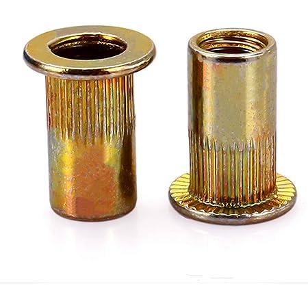 Fullerkreg-24Pcs-M8 x 18mm-Zinc Plated-Flat Head-Carbon Steel-Rivet Nut Rivnut Insert Nutsert