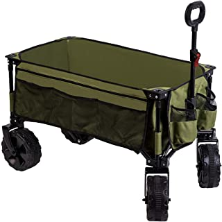 Timber Ridge Folding Camping Collapsible Sturdy Steel Frame Garden/Beach Wagon/Cart Heavy Duty, Green-Side Bag