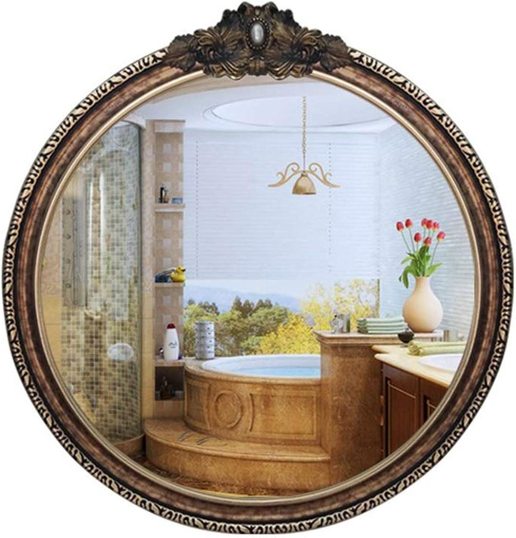 Wall Mirror Decorative Antique, Wall Mounted Mirror Round Decorative Big Wall Mirror European Vintage Style Bathroom Decorative Mirror (color   gold)