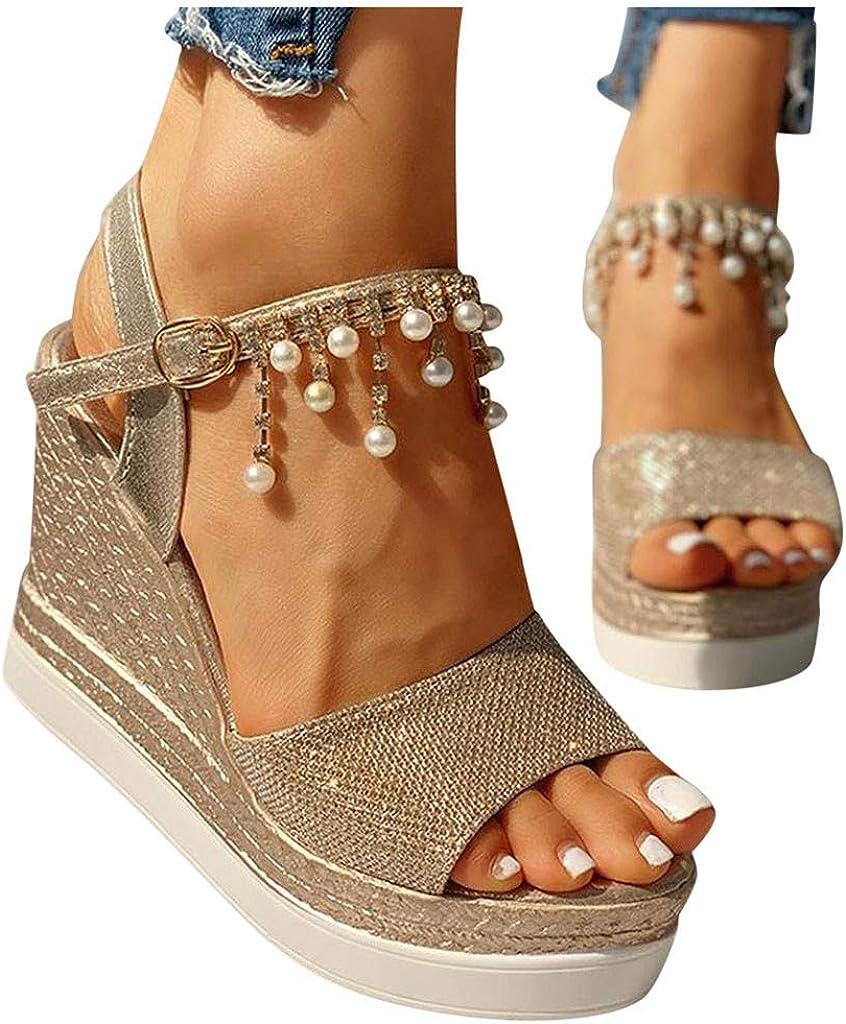 Vedolay Sandals for Women, 2020 Women's Platform Sandals Casual Flats Wedge Buckle Strap Open Toe Summer Sandal