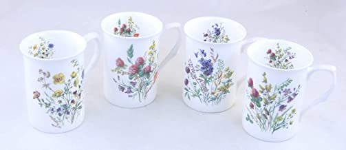 Joanbet's ChinaFind Fine English Bone China Mugs - Set of Four - Wild Meadow by Adderley of England