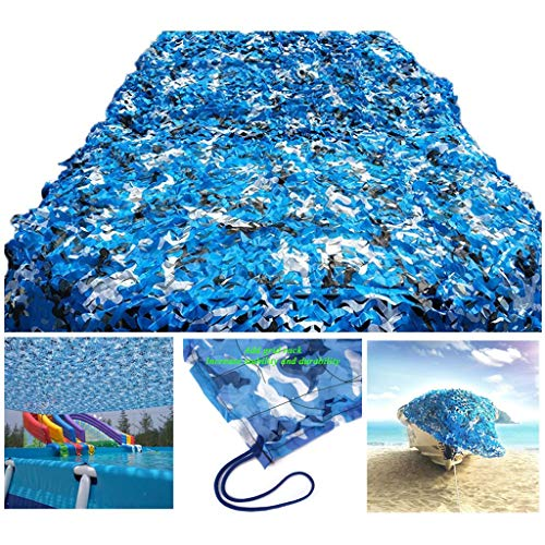 Qjifangzyp Camouflage Netting,Army Camo Net for Camping Military Hunting Shooting Sunscreen Nets Swimming Pool Cover Garden Party Decoration 2x3M Blue (Size : 210M(6.632.8ft))