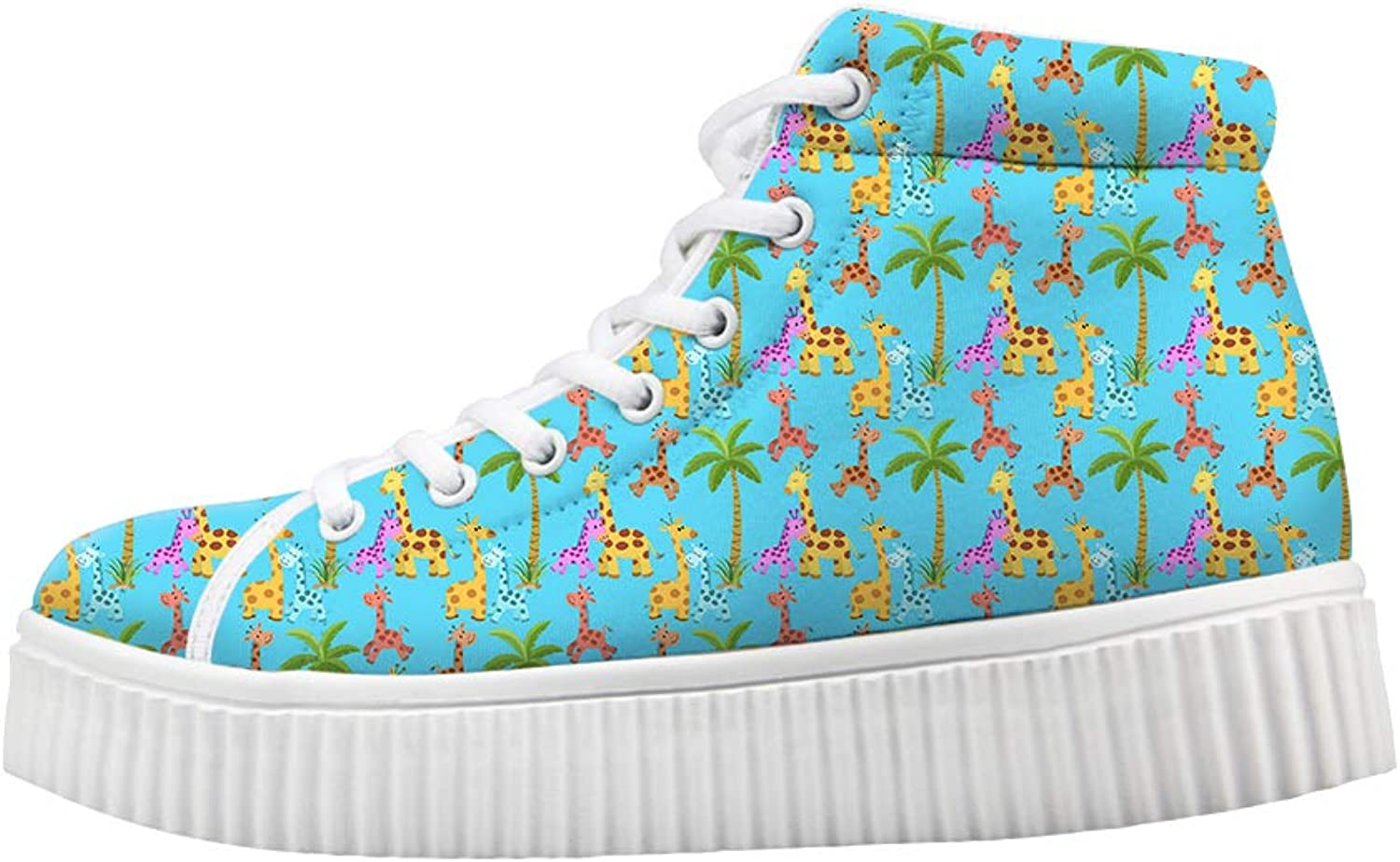 Owaheson Platform Lace up Sneaker Casual Chunky Walking shoes High Top Women Palm Tree colorful Happy Giraffe