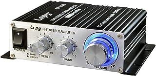 ARCELI パワーアンプ小型 25W×2チャンネル 高音質 家庭用 カー アンプ 高低音 小型ステレオアンプ ブラック(12Vアダプター付属)