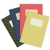 etmamu 549 - Juego de 4 cuadernos de notas (A5, 32 hojas a rayas)