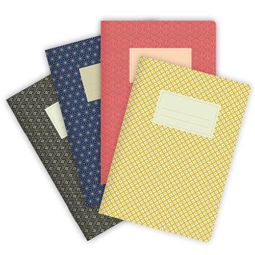 etmamu 549 - set di 4 quaderni per appunti con 32 pagine bianche e motivo giapponese sulla copertina, di formato A5,.