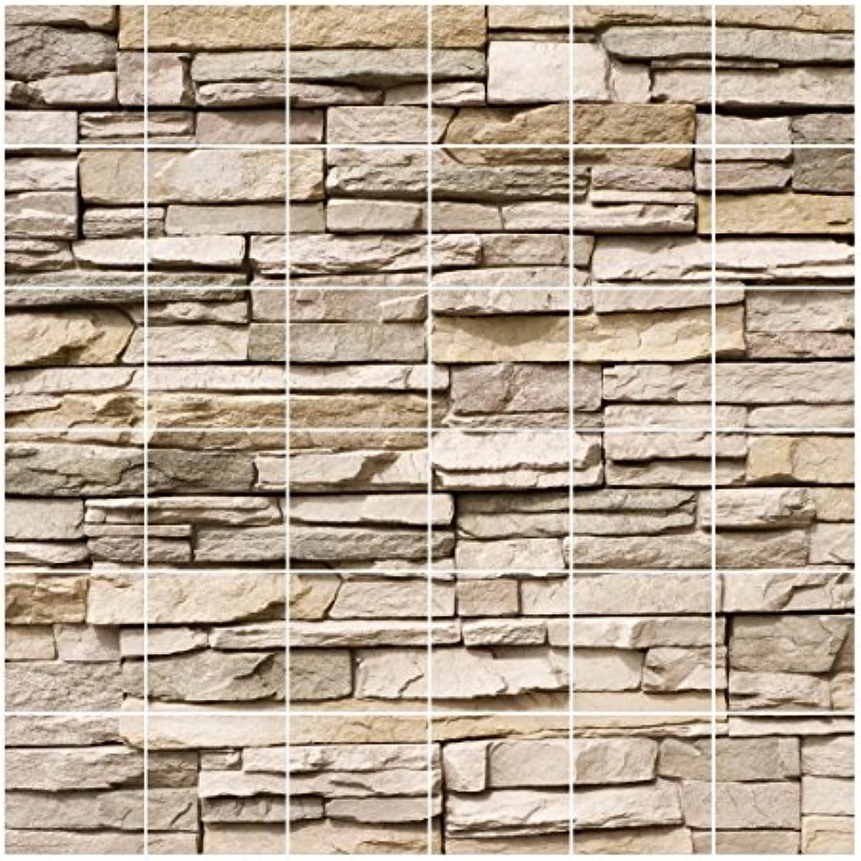 Bilderwelten Fliesen-Aufkleber Asian Stonewall Steinmauer Fliesen 10x10cm Gre 120x120cm