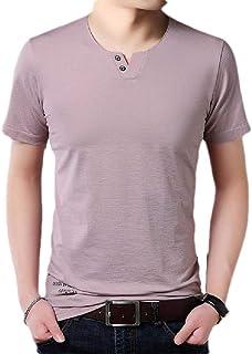 Zantt Men Cotton Linen Summer Short Sleeve Loose Fit Gradient Color Shirt Top