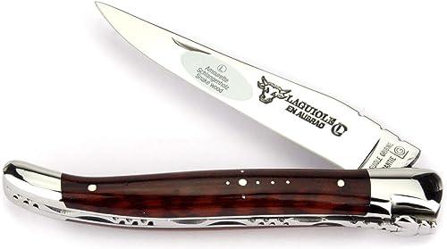 Laguiole en Aubrac Couteau 12 cm L0212AMIF hommeche en amourette, lame et mitres inox brillant
