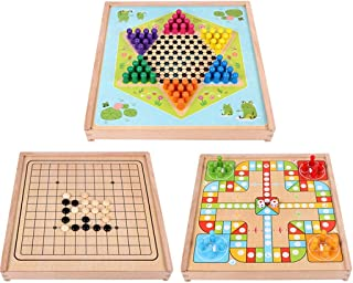 3 In 1 Wooden Drawer Board Game Set with Ludo Flying Chess, Chinese Checkers & Gobang,Toys for Boys and Girls Gifts