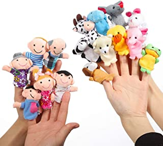 Twister.CK Finger Puppets Set (16pcs) Animal Finger Puppets Family Finger Puppets Finger Puppets Rubber Finger Puppet Theater Different Finger Puppets for Kids Finger Puppets for Toddlers.