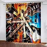 XKSJWY Cortinas Habitacion Dormitorio 3D Guitarra De Rock Metal Patrón Cortinas...
