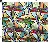 Spoonflower Fabric - Dragonflies Stained Glass Insects Red Colorful Art Deco Dragonfly Printed on Fleece Fabric by The Yard - Sewing Blankets Loungewear and No-Sew Projects