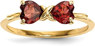14k Polished Garnet Bow Ring in White Gold Yellow Gold