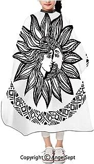 Unisex Kids Haircut Salon Cape Apron,Bohemian Tattoo Alchemy Occult Symbol Boho Chic Hipster Spiritual Black and White,47.2x39.4 inches,Hair Cutting Cape For Kid Cloth