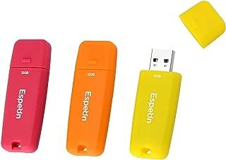 Espeon 3 Stück, 32 GB, USB 2.0, USB Stick, Gummischalenschutz, Farbe: Vibrant   Orange, Gelb, Rot