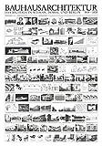 Bauhaus Architektur Poster, 100 x 70 cm, Schwarz / Weiß