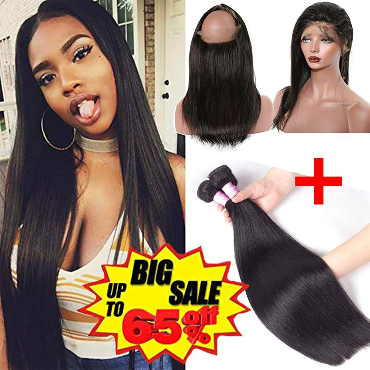 360 Lace Frontal with bundles 360 Lace closure With 2 Bundles 300g(16 18 with 14''360) Brazilian Straight Virgin Hair With 360 Lace Frontal Hair Extensions Natural Black Color, Can be Dyed