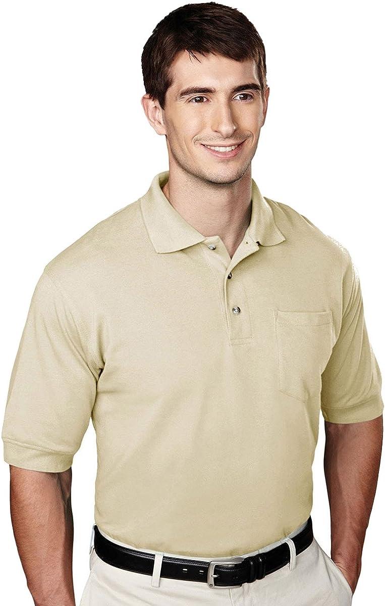 Tri-mountain Mens 60/40 pique pocketed golf shirt. - SAND - XXXX