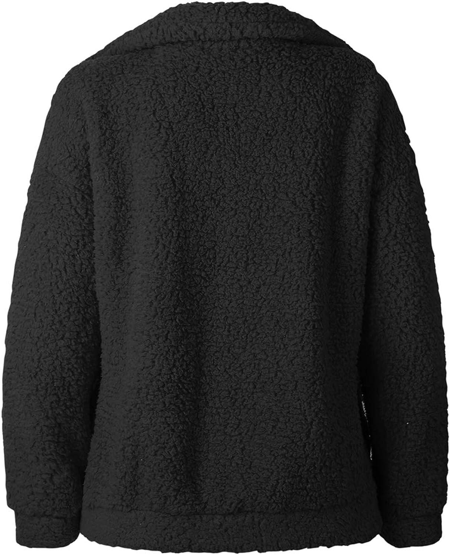 SHIBEVER Flauschige Frauen Mäntel Faux Wollmischung Warme Winterjacke Reißverschluss Up Langarm Oversized Mode Oberbekleidung 81-schwarz