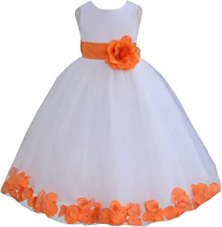 flower girl dress with flowers in skirt