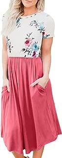 Womens Short Sleeve Pocket Floral Print Patchwork Casual Swing Midi Dress
