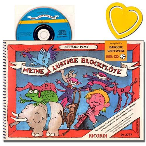 Meine lustige Blockflöte - Sopranblockflöte (barocke Griffweise) mit CD zum Anhören und Mitspielen - Autor: Richard Voss - mit bunter herzförmiger Notenklammer - SY2737 9790204227372