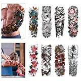 Konsait Full Arm Temporary Tattoo, 8 Sheets Extra Temporary Tattoo Transfer Black Tattoo Rose Waterproof Body Stickers for Man Women