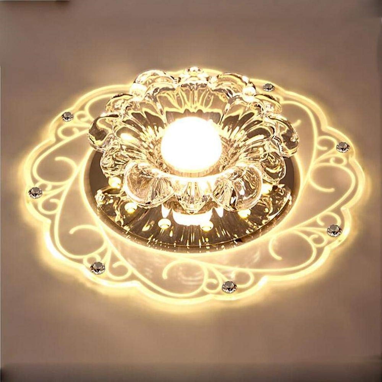 FuweiEncore LED 220V 5W runde geführte Kristallgang-Wohnzimmer-Dekorations-Flur Porch-Beleuchtungs-Scheinwerfer Decke Downlights (Farbe   Warm Light, Gre   -)