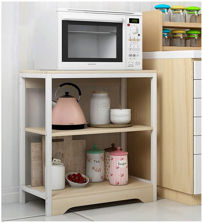 Kitchen Kitchen Storage Shelf 3-Layer Microwave Oven Rack Floor Bathroom Bedroom Living Room Storage Cabinet Organisation (color   A)