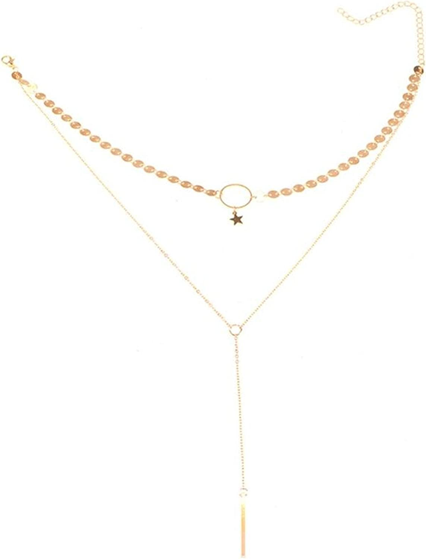 WIIPU Women Accessories Sequins Long Tassel Star Choker Necklace(B722)