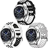 CreateGreat for Samsung Galaxy Watch 46mm, Gear S3 Soft Replacement Breathable Sport Bands with Air Holes and Quick Release Pin for Samsung Gear S3/Galaxy 46mm Watch