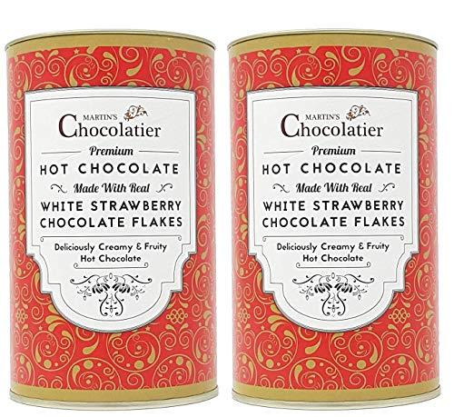 Martins Chocolatier   2 Pack   Strawberry Hot Chocolate Flakes Luxe Drinking Chocolate Gemaakt van Real Belgian…