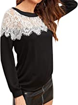 Autumn Womens Lace Long Sleeve t-Shirt Tops o-Neck Hollow Out Patchwork Casual Blouse Ladies Loose Slim Tee Shirts