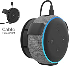 AHASTYLE Wall Mount Hanger Holder for Echo Dot 3rd Generation Smart Home Speakers, Built-in Cable Management and Need to Drill(Black)