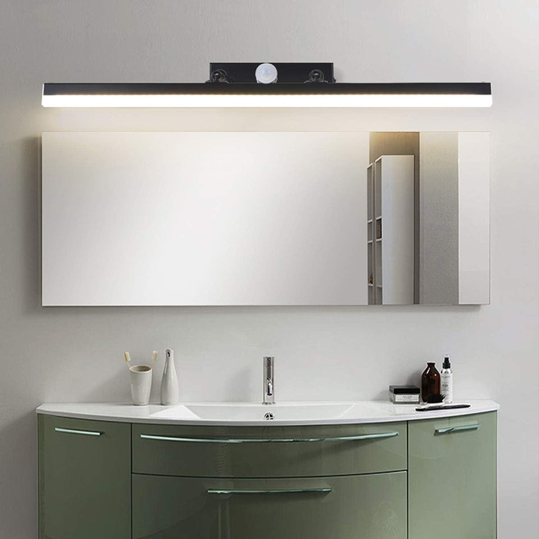 LED Lampe de Miroir Salle de Bain avec D/étecteur de Mouvement IP44 /étanche Lampe Pour Miroir Coiffeuse 4000K,43cm//9w Moderne Noir Applique salle de bains Avec Interrupteur R/églable et Rotative