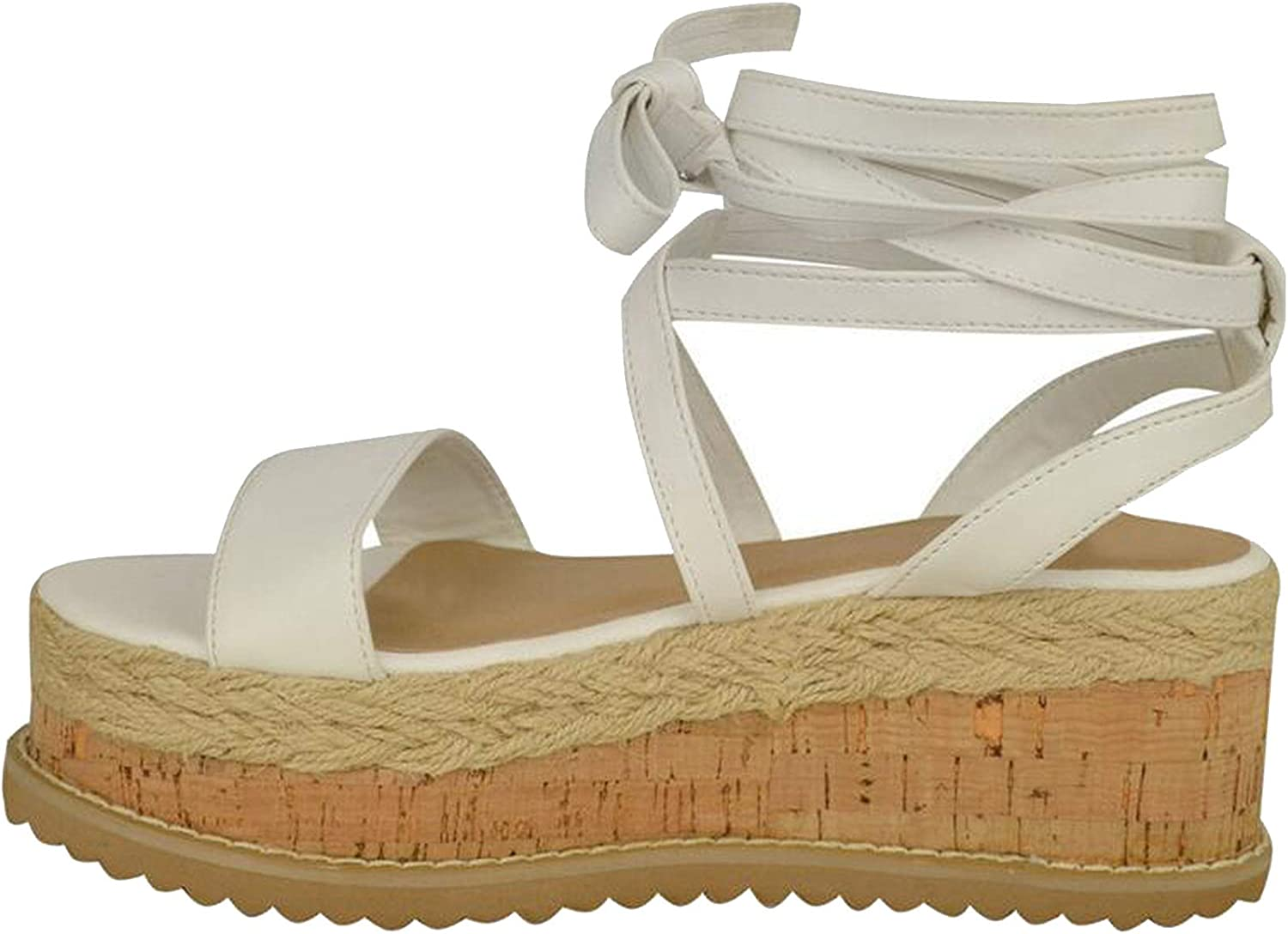Summer White Wedge Espadrilles Women Open Toe Gladiator Casual Lace up Women Platform Sandals