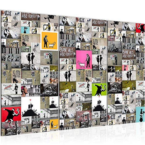 Runa Art Collage Banksy Bild Wandbilder Wohnzimmer XXL Bunt Street Art 120 x 80 cm 3 Teilig Wanddeko 302731a