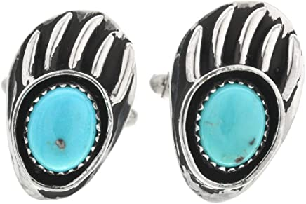 Turquoise Silver Bear Paw Cuff Links Navajo Traditional Sterling 0001