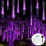 JMEXSUSS Solar Meteor Shower Rain Lights, 30cm 8 Tube 144 LEDs Purple Meteor Lights, Led Falling Rain Fairy String Lights for Xmas Tree Weeding Holiday Party Patio Decoration