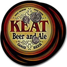 ZuWEE Brand Classic Beer & Ale Coaster Set Personalized with the Keat Family Name