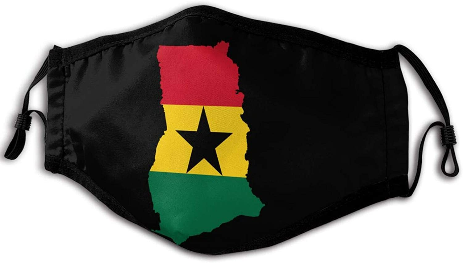 Flag Map of Ghana Unisex Face Mack Washable Reusable Face Mouth Cover Balaclava for Men Women Outdoor Black