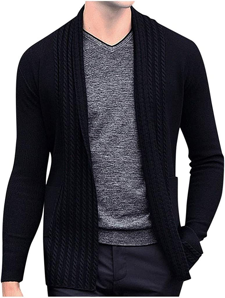 MODOQO Men's Cardigan Sweater Long Sleeve Solid Winter Warm Soft Knitted