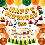 Camping Birthday Party Decoration Kit, Camping Happy Birthday Banner Camping Cake Toppers Camping Themed Hanging Swirls Confetti Latex Balloons Tassel Garland Paper Pom Poms for Birthday Baby Shower